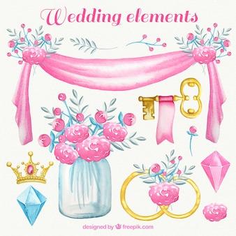 elementos de la boda de la acuarela en tonos rosados