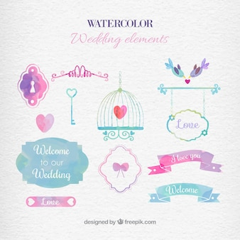 Elementos de la boda de la acuarela