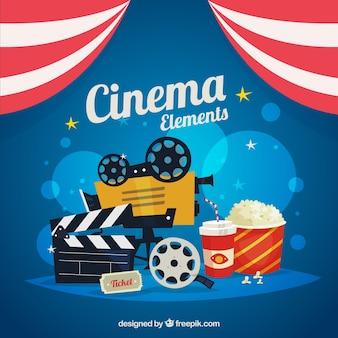 elementos de la película con palomitas