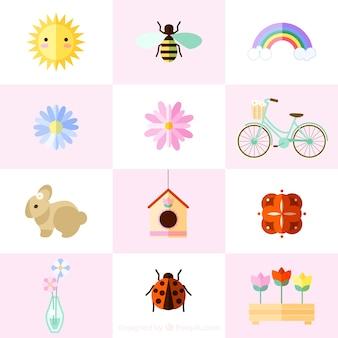 Elementos de la primavera en diseño plano