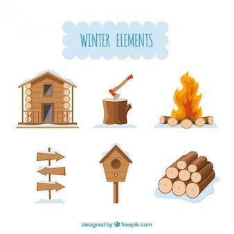 elementos de madera de invierno