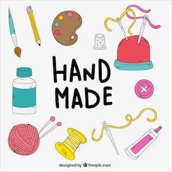 Elementos de manualidades dibujados a mano