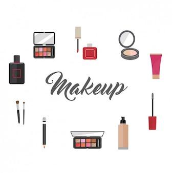 Elementos de maquillaje a color