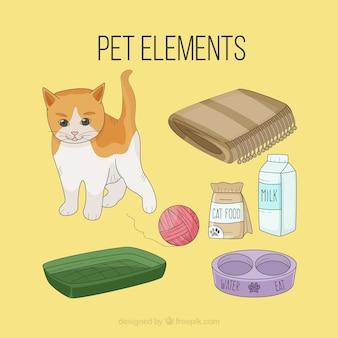 Elementos de mascota dibujados