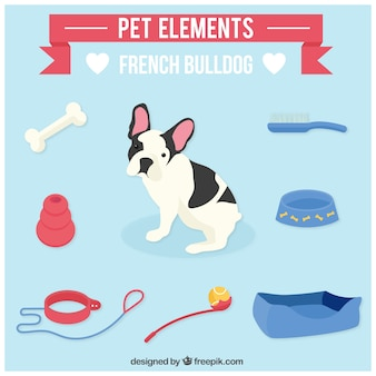 Elementos de mascota para bulldog francés