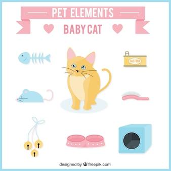 Elementos de mascota para gatito