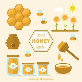 Elementos de miel ecológicos en diseño plano