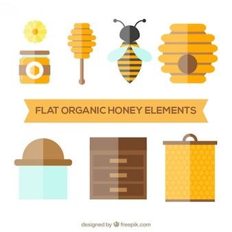 Elementos de miel en diseño plano