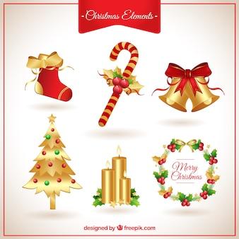 Elementos de navidad en tonos dorados y rojos