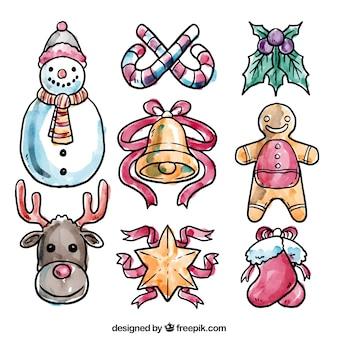 Elementos de navidad pintados a mano