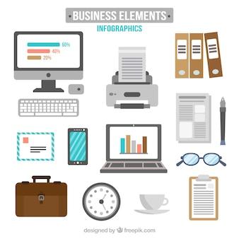 elementos de negocio dibujados a mano paquete