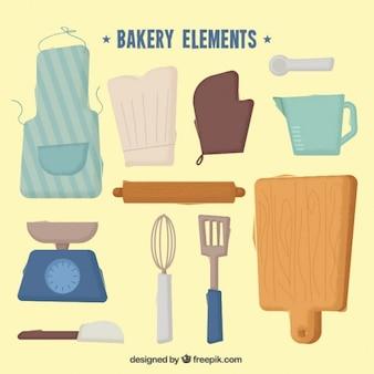 Elementos de panadería pintados a mano y herramientas de cocina