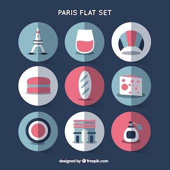 Elementos de París en diseño plano