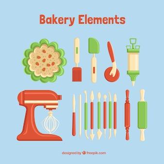 Elementos de pastelería verde y rojo