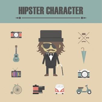 Elementos de personaje hipster