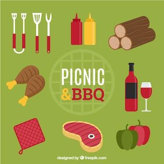 Elementos de picnic y barbacoa con comida
