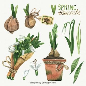 Elementos de primavera realistas dibujados a mano