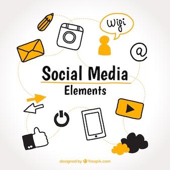 Elementos de redes sociales dibujados a mano