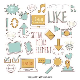Elementos de social media en estilo plano