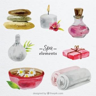 Elementos de spa en acuarela