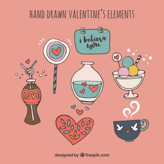 Elementos de valentín dibujados a mano