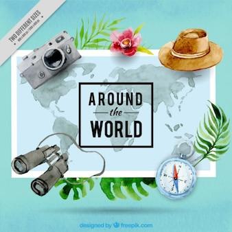 Elementos de viaje de acuarela y mapa