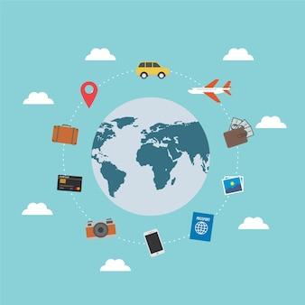 Elementos de viajeros por el mundo
