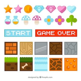 Elementos de videojuego en diseño plano