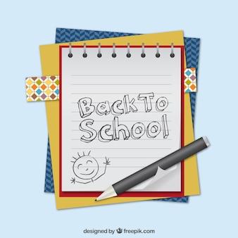 Elementos de vuelta a la escuela con bolígrafo