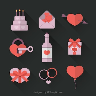 Elementos decorativos del día de san valentín en un estilo plano