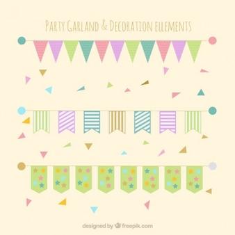 Elementos decorativos en colores pastel