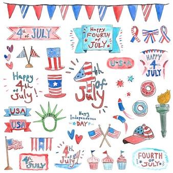 Elementos del día de la independencia en acuarela