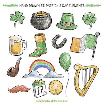 Elementos del día de San Patrick dibujados a mano