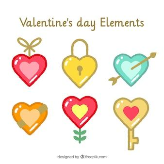 Elementos del día de san valentín con forma de corazón