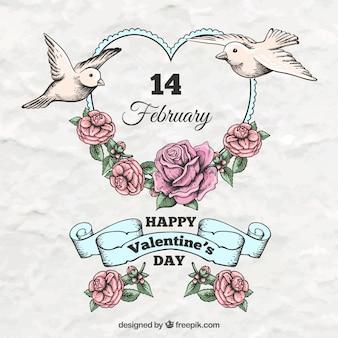 Elementos del día de San Valentín dibujados a mano