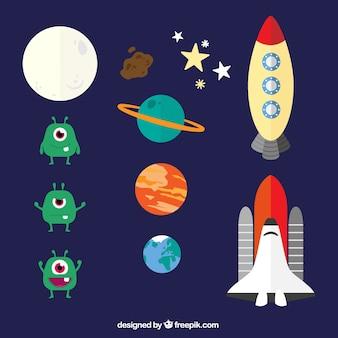 Elementos del espacio en estilo de dibujos animados