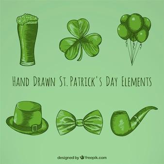 Elementos dibujados a mano de san Patricio