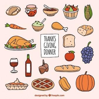 Elementos dibujados a mano para acción de gracias