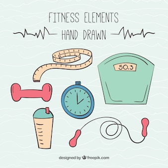 Elementos dibujados a mano para practicar deporte