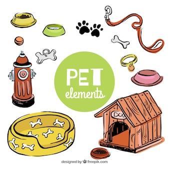 Elementos dibujados a mano para tu mascota