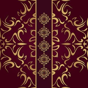 Elementos dorados sobre fondo rojo