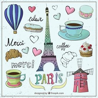 Elementos esbozados coloridos de Paris