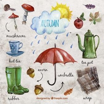 Elementos esenciales de otoño de acuarela