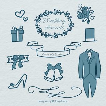 Elementos esenciales dibujados a mano para la ceremonia de la boda