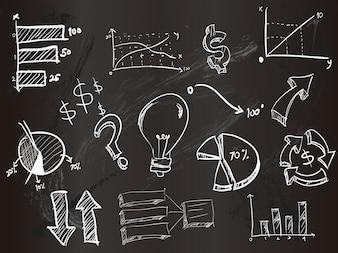 Elementos estadísticos con diseño de tiza