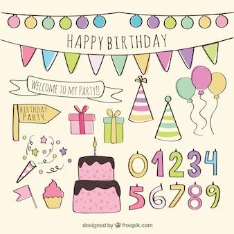 Elementos feliz cumpleaños dibujados a mano
