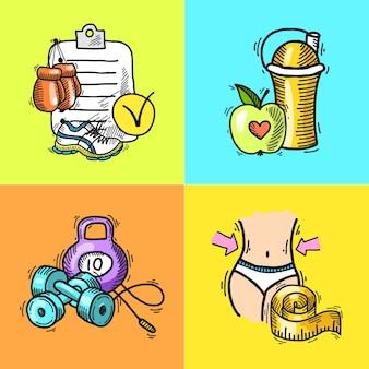 Elementos fitness dibujados a mano