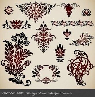 Elementos florales decorativos de diseño volutas