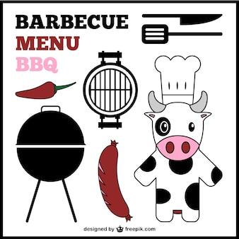 Elementos gráficos de menú de barbacoa