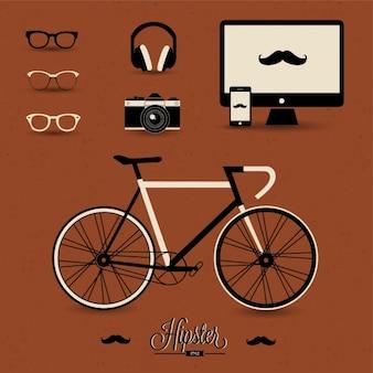 Elementos hipster sobre un fondo marrón